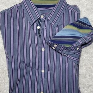 Robert Graham button front shirt flip cuffs XXL 2X